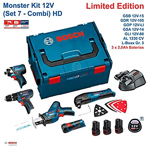 BOSCH Monster Kit Set 7 (GSB 12V-15-LI+GDR 12V-105+GSA 12V-14+GOP 12V-LI+GLI 12V-80+3 x 2,0 Ah+AL1230CV+L-Boxx 238)
