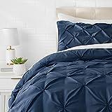 AmazonBasics - Set parure da letto con bordi arricciati, 260 x 240 cm, Blu marino