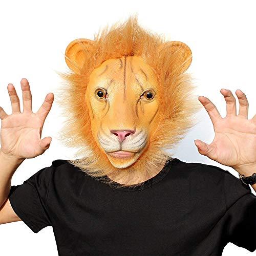 Partycostume deluxe novità halloween costume festa latex animale testa maschera il leone