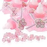 QILICZ 24 pezzi bottiglie regalo bomboniera battesimo Baby Candy Box con mini ciuccio decorativo e grembiule in pizzo per bambine Shower Baby doccia Party battesimo pacchetto regalo Baby Party b
