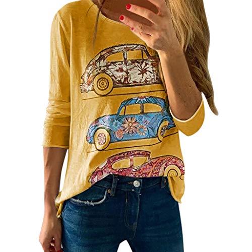 Ice Kostüm Baby Age - Damen Shirt Mode Drucken Langarm T-Shirt Pullover Casual Lose Sweatshirt Frühling Herbst Stretch Tops Rundhalsausschnitt Langarm Bluse