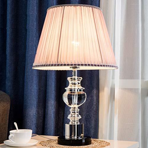 FMEZY Modern Home Dekorative Chrom Und Glas Tischlampe Mit Creme Stoffschirm Schreibtisch Büro Licht Lampe Nachtlicht Für Schlafzimmer Wohnzimmer Licht (Farbe: ROSA) - Stoffschirm Glas