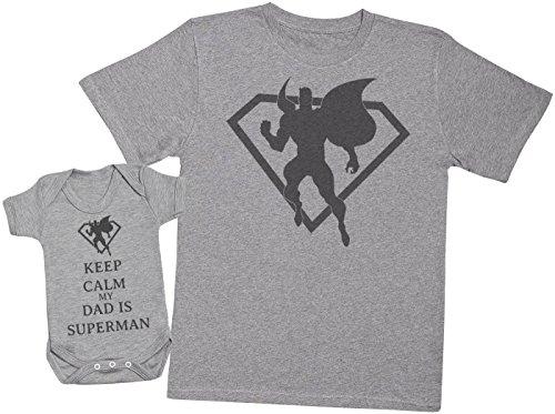 Keep Calm My Dad is Superman - Passende Vater Baby Geschenkset - Herren T-Shirt & Baby Strampler/Baby Body - Grau - X-Large & 3-6 Monate