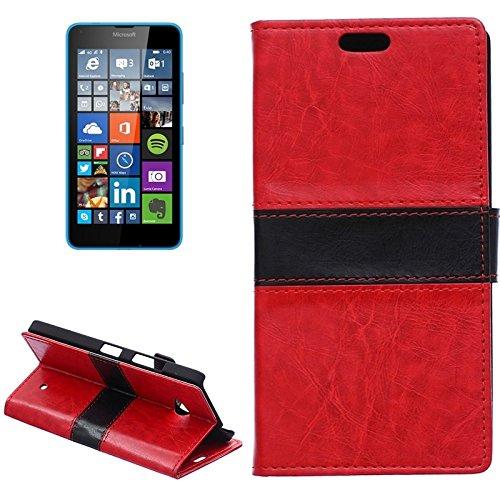 Case For Android Phone Protege tu teléfono, Color Que Empareja la Caja de Cuero del tirón con el sostenedor y CardSlots y Walletfor Microsoft Lumia 640 (Color : Rojo)