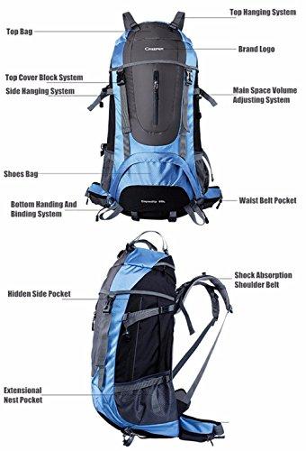 45L 60L 65L Rucksäcke Herren Rucksäcke Women Mountaineering Taschen Männlich Weiblich Doppel-Schulter Wasserdicht Red