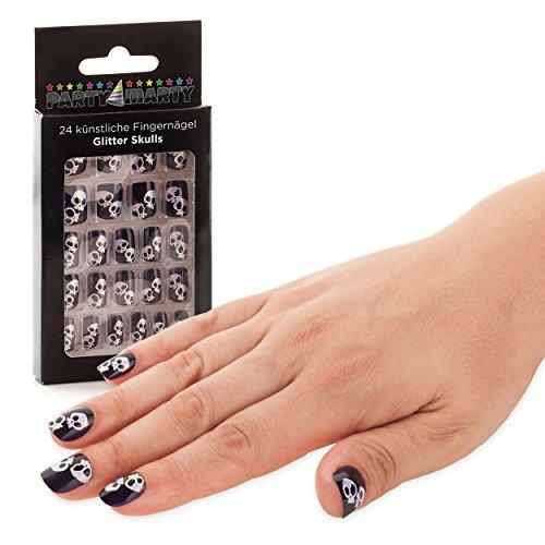24 Halloween Fingernägel Totenkopf Glitzer Schwarz - hochwertige künstliche Nägel Kunstnägel Nail Tips zum Aufkleben