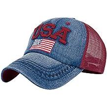 Rawdah Sombrero plano unisex de Hip Hop del Snapback de la gorra de béisbol de la bandera americana de las mujeres (rojo)