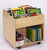 Flexeo Buchmobil auf Rollen, mobiles Bücherregal aus Holz, Kinder-Buchbox zur Bücheraufbewahrung Kindergarten, Krippe Bücher-Kiste, lesen, Leseecke, mit extra viel Stauraum, 58,5 cm x 60 cm x 60 cm