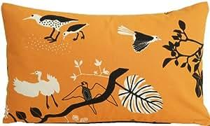 Ikea rectangulaire Orange Housse de coussin en coton imprimé. Motif oiseaux Taie d'oreiller