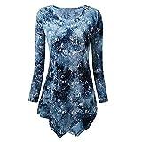 MRULIC Damen Lose Asymmetrisch Curved Rock Oberteile Bluse Rundhals Casual Loose Kleid(Y1-Blau,M)