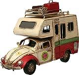 Auto Wohnmobil aus Metall rot mit Rahmen PKW Oldtimer Nostalgie