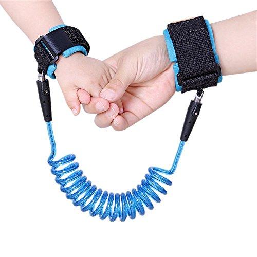 Bestland Baby Kinder Anti-Verloren Sicherheit Handgelenk Link Verstellbare Handgelenkschlaufen Gehender Handgurt Rein Harness Sicherheit Elastisches Drahtseil (2m, Blau)
