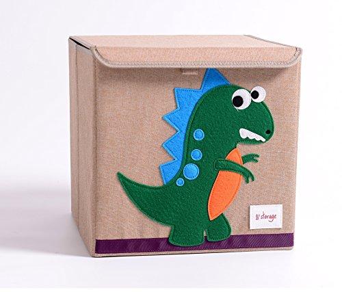 TruReey Falt-Aufbewahrungsbox mit Deckel, stabil, klappbar, leicht zu reinigen und zu organisieren, Spielzeug-Aufbewahrungsbox, Stoff, 33x 33x 33cm. Dinosaurier - Boxen Aufbewahrung Dekorative