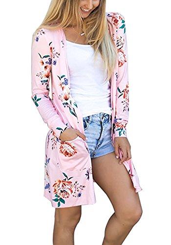 Minetom Damen Blumenmuster Strickjacke Cardigan Langarmshirt Lose Kimono Baumwolle Cover Up Oberteil Rosa DE 38 (Drop-schulter Strickjacke Gestrickt)