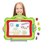 Geekper Tavolo da Disegno Magnetico, Tavolo da Disegno Verde cancellabile Colorato Magna per scarabocchiare Giocattoli per Bambini tavola da Disegno e Scrittura, con 5 Forme di timbri