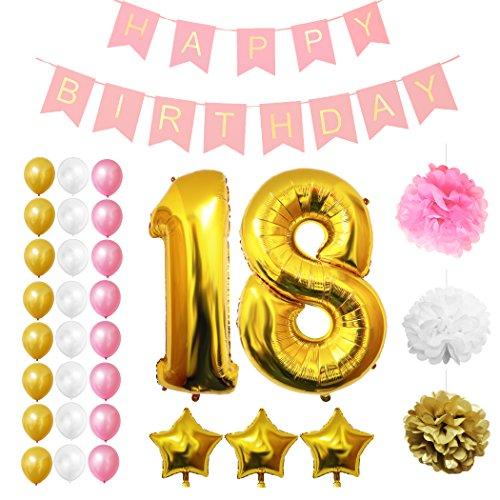 Luftballons u. Dekoration zum 18. Geburtstag von Belle Vous - 32-tlgs. Set - Großer 18 Jahre Ballon - 30,5cm Gold, Weiße u. Rosa Dekorative Latex-Ballons - Dekor für Jugendliche (18 Geburtstag Zubehör)