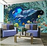 3D Landschaft Tapete Murallarge Shark Sea World 3D Cartoon Wandbild Vinyltapete für Sofa Hintergrund Kind Baby Zimmer 3D Wand Foto Wandbild Paper400x280cm