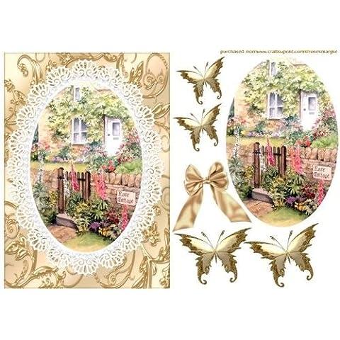 Rose Cottage acquerello in crema/oro by Marijke