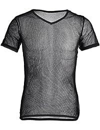 YiZYiF Herren Unterhemd aus Mesh Transparent Unterwäsche Muskelshirt  Stretch T-Shirt Tops Clubwear M- 33abbf9961