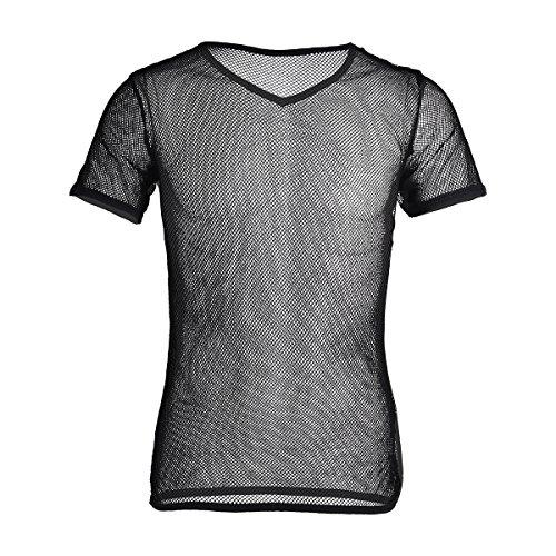 YiZYiF Herren Unterhemd aus Mesh Transparent Unterwäsche Muskelshirt Stretch T-Shirt Tops Clubwear M-3XL (Schwarz, 2XL)