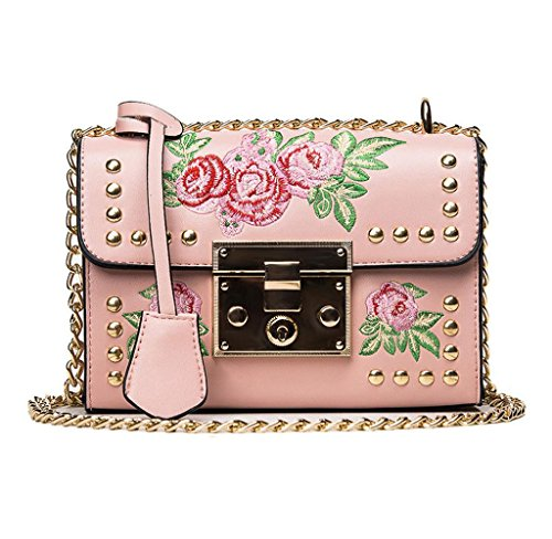 Bolsos bandolera de Mujer, Holacha Crossbody Bolsas de hombro bordado de flores con remache de cuero (rosa)