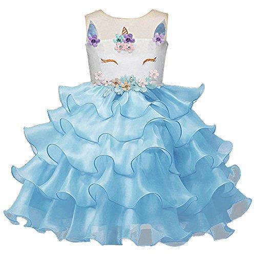 Mädchen Einhorn Cosplay Kleid Kleinkind ärmellose Tüll Tutu Prinzessin Kleid Kinder Hochzeit Geburtstag Festzug Halloween Weihnachten Karneval Party Kleid Kostüm Dress up Blau ()