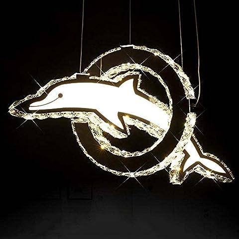 Creativo de los niños personalizados Cristal de la lámpara LED de habitaciones Dolphin Araña Tienda de ropa ventana del restaurante de la lámpara (Tres clases de color de la luz ajustable) ( Color : Luz calida )