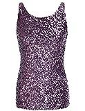 PrettyGuide,Damen Shimmer Glam Pailletten verziertes Sparkle Traegershirt, Gr. L (Herstellergroesse XL), purple
