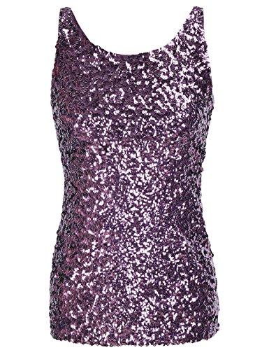PrettyGuide Damen Shimmer Glam Pailletten Verziert Sparkle Trägershirt-Weste Tops Lila