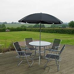 Garden Mile® - Lot de 6articles de mobilier de jardin extérieur - Ensemble de salle à manger4places avec table à plateau en verre, 4chaises pliantes et parasol - Pour terrasse ou balcon