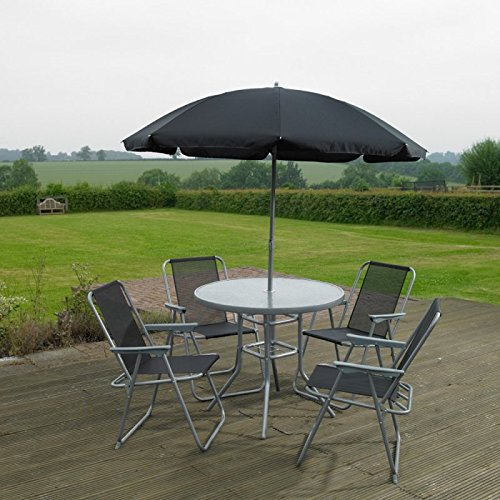 Tisch Set Sonnenschirm (Garten Mile® 6Stück Garten Terrasse Set Outdoor Dining Set–4-sitzer Outdoor Garten Möbel mit Glas Tisch mit 4Klappstühle und Sonnenschirm Regenschirm für Sonnendeck oder Balkon)