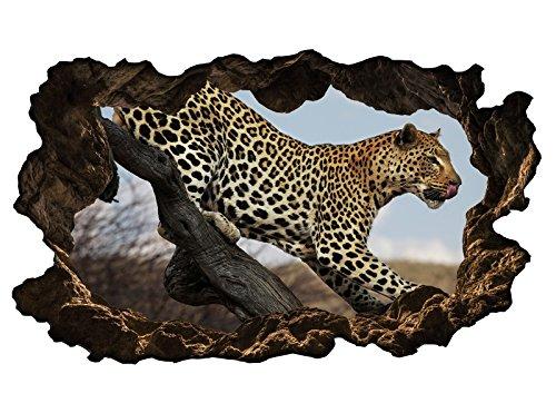 3D Wandtattoo Leopard Tier Baum Raubkatze Afrika selbstklebend Wandbild Wandsticker Wohnzimmer Wand Aufkleber 11G347, Wandbild Größe F:ca. 97cmx57cm (Leopard-druck-folie)