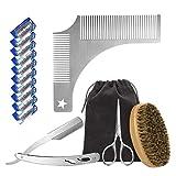 Barbe kit d'outils de coupe, Peigne barbe homme, Brosse à poils de sanglier, rasoir...