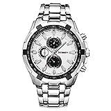 Herrenuhr Machine/Analoge, Robuste Chronographen Uhr mit großem Ziffernblatt, Datumsanzeige & wechselbarem Edelstahl Armband - im zeitlosen Industrial-Look (WHITE)