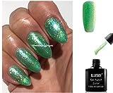 BLUESKY sj36Kristall Smaragd Grün feines Glitter Glitzer Nagellack-Gel UV-LED-Soak Off 10ml plus 2LuvliNail Shine Tücher