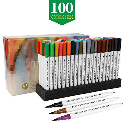 GCQUILL 100 Farben Marker Stift Set Pinselstift Set Bunte Aquarell Pinsel Brush Pen Set mit Doppelspitze für Malen Zeichnen Fasermaler Handlettering, Kalligrafie, Kinder und Erwachsene -