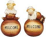 Sunny Toys 13392 Keramik Schaf auf 'Welcome'-Kugel, 19-22 cm, 2-fach sortiert