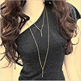 #3: ITS-New Simple Gold Color Metal Bar Double Layer Pendant Chain Necklace.