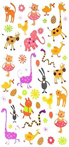 Erba hine tatuaggi temporanei per bambini, cartone tatuaggi, tra cui molte bella e simpatici animali come giraffe, gatti, serpenti, elefanti, anatre, conigli, maiali, mucche, pulcini, ecc.