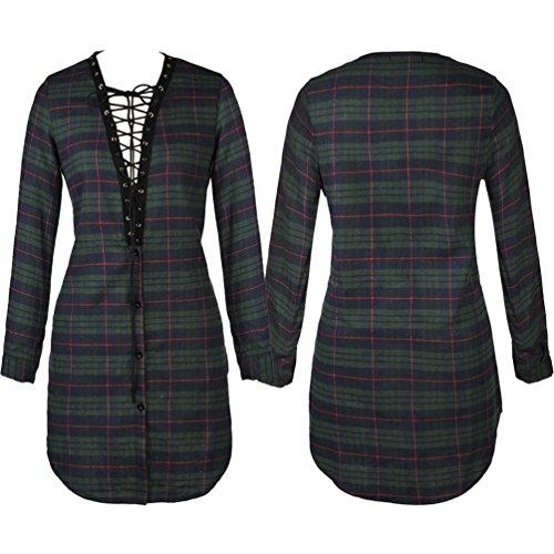 NiSeng Damen Kleid Mini Hemdkleid Lange Ärmel V Ausschnitt Casual Blusenkleid Minikleid Grün