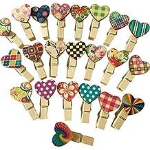 Cosanter 100 Pinzas Clip Decorativas de Madera con Corazón Adorno para Fotografías y para Colgar Regalos Color Al Azar