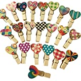 Hosaire 100Pcs Clips Photo en bois Mini Pince a Linge Mignonne Forme de Peint Coeur Vêtir Papier Photo Craft DIY Clip pour décor la Saint Valentin/Noël/Anniversaire/Fête/Mariage Couleur aléatoire​