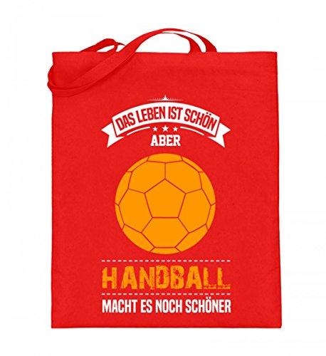 Hochwertiger Jutebeutel (mit langen Henkeln) - Handball Spieler Trainer Geschenk Handballerin Handballer Geschenkidee Sport Rubinrot