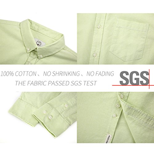 Mocotono Uomo Camicia Classica In Cotone Oxford A Manica Lunga con Tasca Verde