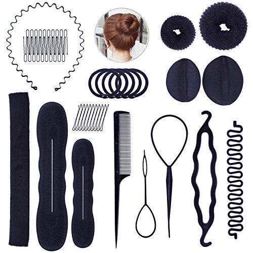 48 piezas de Accesorios para peinar el cabello (moldes, pinzas, bandas, peine, trenzas) herramientas de modelado de cabello, para mujeres y niñas