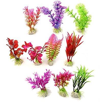 WINOMO 10 pcs Artificial Aquarium Fish Tank Water Plant Plastic Decoration Ornament (Random Color) 4