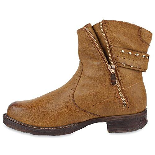 Stiefelparadies Damen Stiefeletten Nieten Biker Boots Gefütterte Stiefel Leder-Optik Schuhe Strass Schnallen Zipper Übergrößen Cut Outs Fransen Flandell Braun Zipper