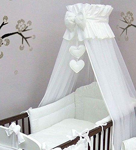 10PCS Baby beddign Set mit Stickerei (passt Kinderbett Bett 140x 70cm, Herzen weiß) - Kinderbett Bettwäsche Stoßstange Weiße