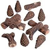 Lote de 12 ornamentos de cerámica con diseño de madera, para decoración de chimenea de bioetanol y ecológica