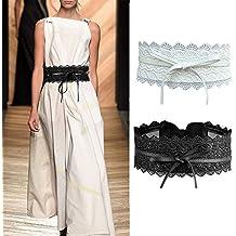 Imixcity 2/4 Paquete Cinturón Ancho Obi Ajustable Cinturón de Cintura de Encaje para Vestidos